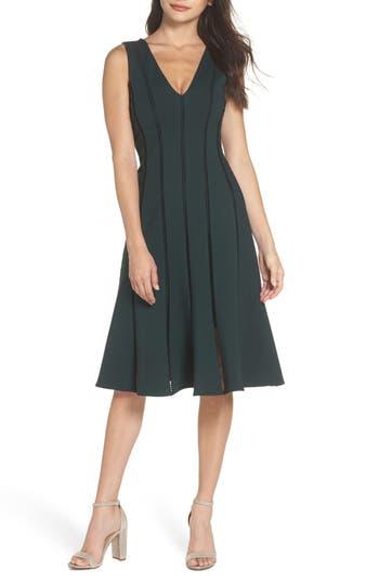 ADELYN RAE Pilar Ponte Knit A-Line Dress, Hunter Green
