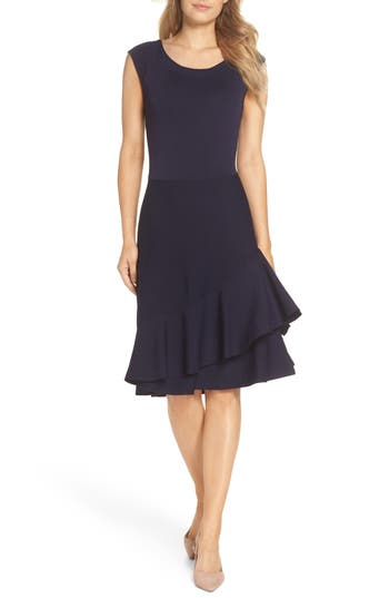 Eliza J Double Ruffle Dress, Blue