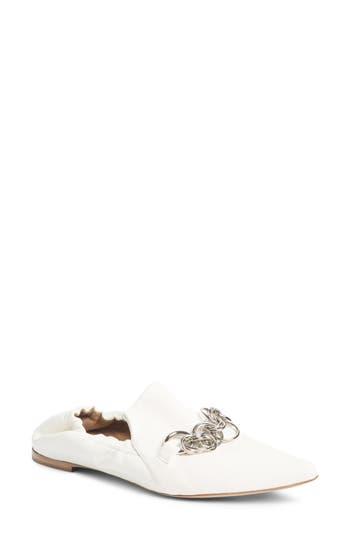 Chloe Reese Chain Bit Loafer Flat, White