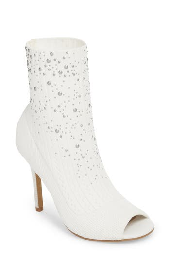 Charles By Charles David Peep Toe Sock Bootie, White