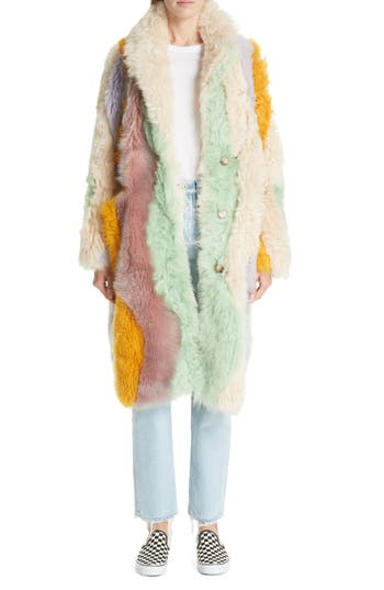 Sandy Liang WAVY PATCHWORK REVERSIBLE GENUINE SHEARLING COAT