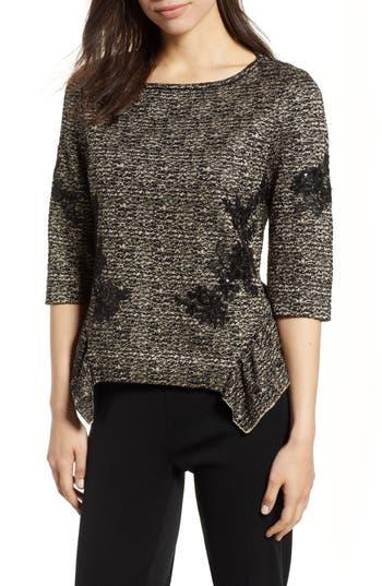 Ming Wang Sequin Asymmetrical Hem Top, Brown