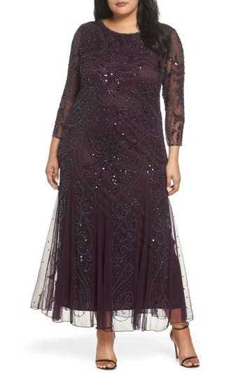 1920s Plus Size Flapper Dresses, Gatsby Dresses, Flapper Costumes Plus Size Womens Pisarro Nights Embellished Three Quarter Sleeve Gown Size 22W - Red $238.00 AT vintagedancer.com