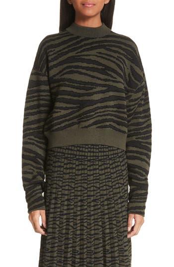 Proenza Schouler Tiger Stripe Jacquard Sweater, Black