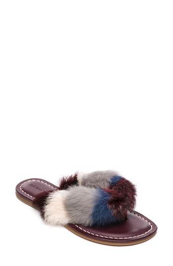Bernardo Mara Genuine Rabbit Fur Flip Flop, Burgundy