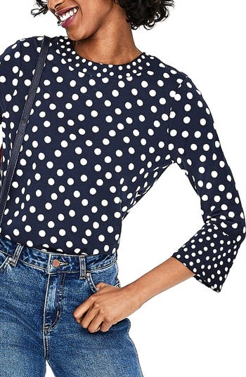 1930s Style Blouses, Shirts, Tops | Vintage Blouses Womens Boden High Neck Flare Cuff Top $70.00 AT vintagedancer.com