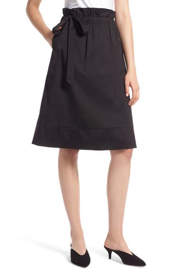 Halogen Side Tie A-Line Skirt, Black