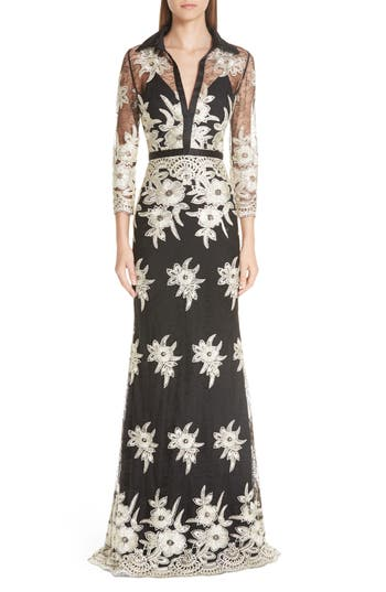 Badgley Mischka Platinum Embroidered Lace Stretch Silk Column Gown