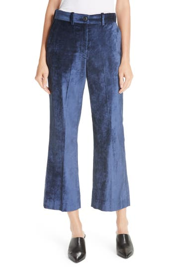 Rag & Bone Libby Velvet Crop Flare Pants, Blue