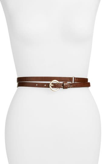 Something Navy Faux Crocodile Double Wrap Stretch Belt, Brown