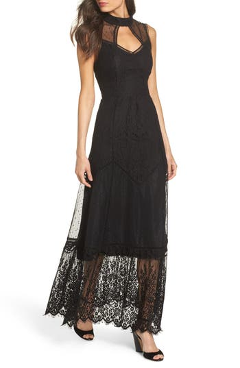 Victorian Costumes: Dresses, Saloon Girls, Southern Belle, Witch Womens Harlyn Mixed Lace Gown Size XX-Large - Black $172.00 AT vintagedancer.com
