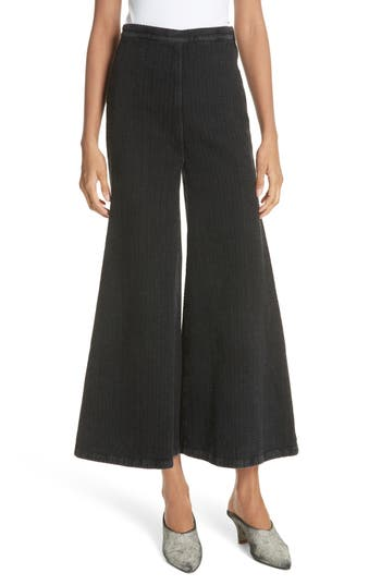 Absolute Herringbone Weave Wide Leg Pants in Black