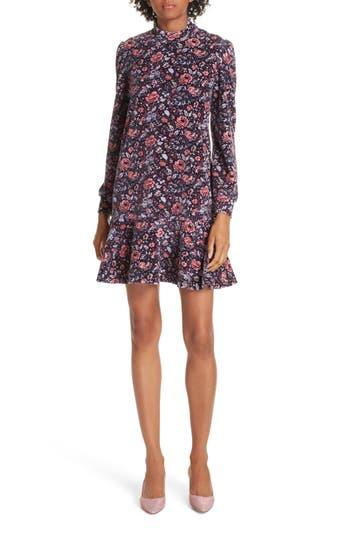 La Vie Rebecca Taylor Floral Velour Fit & Flare Dress, Purple