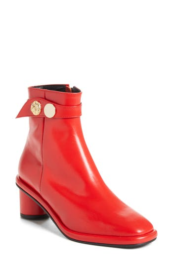 Reike Nen Gold Hardware Ankle Boot, Red