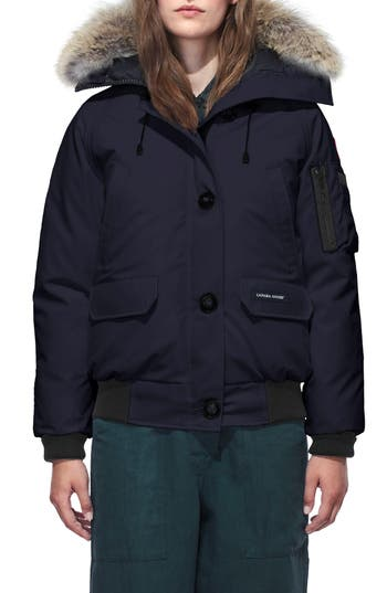 Canada Goose Chilliwack Hooded Down Bomber Jacket With Genuine Coyote Fur Trim, (0) - Blue
