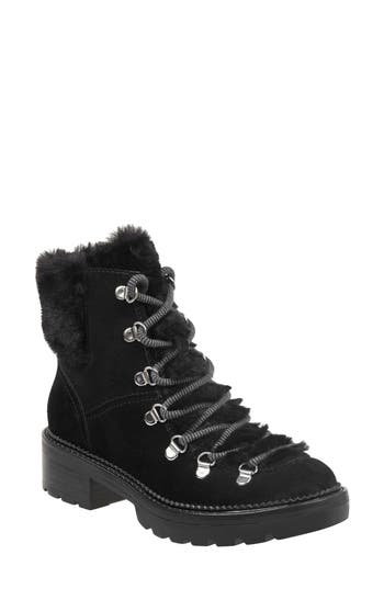 Marc Fisher Ltd Capell Genuine Shearling Cuff Lace-Up Boot, Black