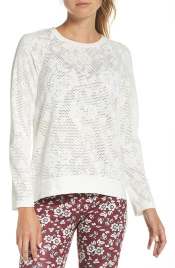 Kate Spade New York Floral Mesh Top, Beige