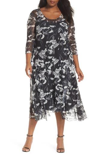 1920s Plus Size Flapper Dresses, Gatsby Dresses, Flapper Costumes Plus Size Womens Komarov Charmeuse  Lace A-Line Dress Size 3X - Black $348.00 AT vintagedancer.com