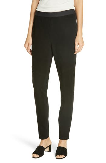 Eileen Fisher Suede Front Leggings, Black