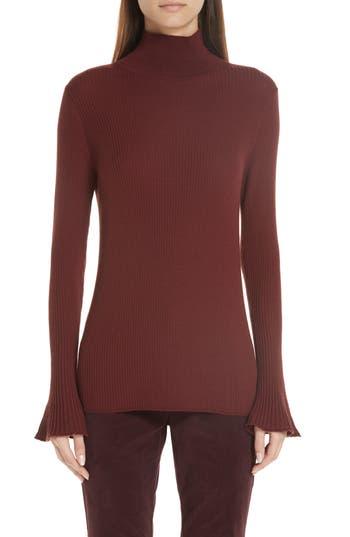 Lafayette 148 New York Rib Knit Merino Wool Sweater, Burgundy