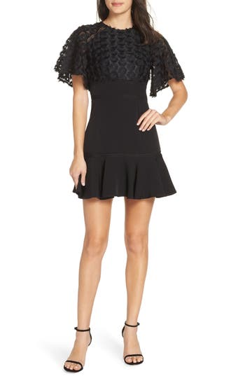 Keepsake The Label Mirrors Lace Popover Minidress, Black