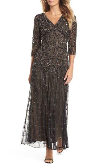 Pisarro Nights Embellished Mesh Gown, Black