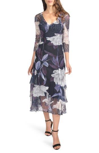 Komarov Floral Tiered Hem Dress, Blue