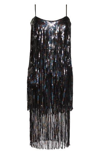 Vintage Evening Dresses and Formal Evening Gowns Womens Dress The Population Roxy Fringe Shift Dress Size XX-Large - Black $320.00 AT vintagedancer.com
