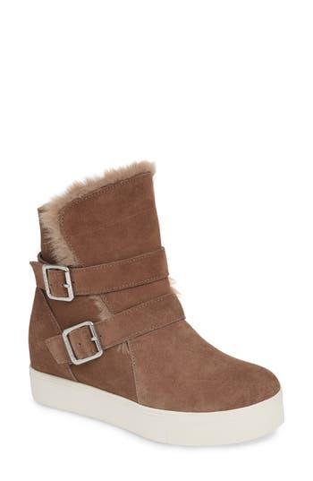 Jslides Wells Faux Fur Trim High Top Sneaker, Beige