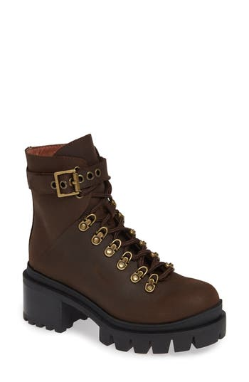 Jeffrey Campbell Czech Lace-Up Boot- Brown
