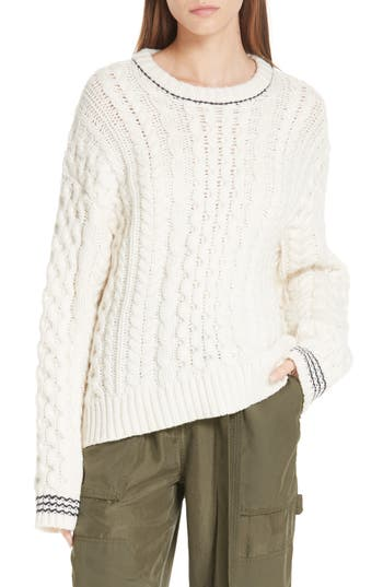 Brighton Lambswool Aran Sweater, Ivory/ Navy