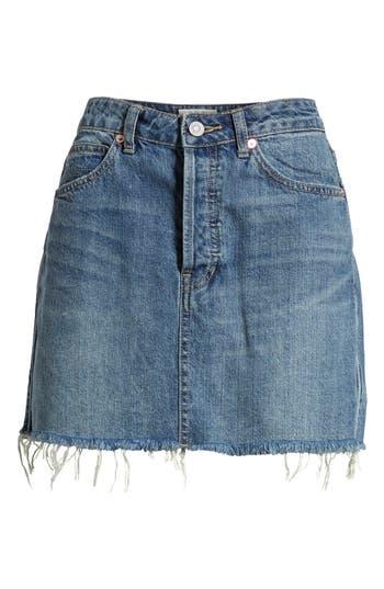 Free People Rugged A-Line Denim Miniskirt, Blue