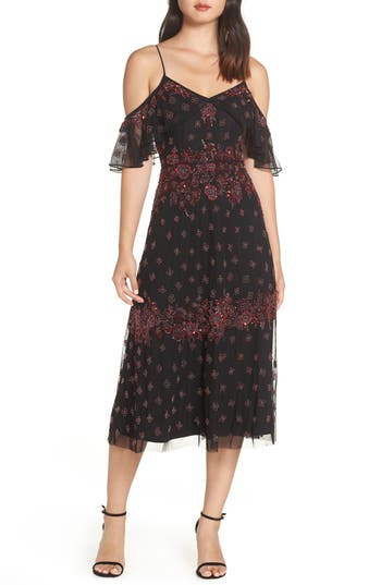 Adrianna Papell Embellished Midi Dress, Black