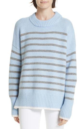 Marin Stripe Cashmere & Wool Sweater, Gray