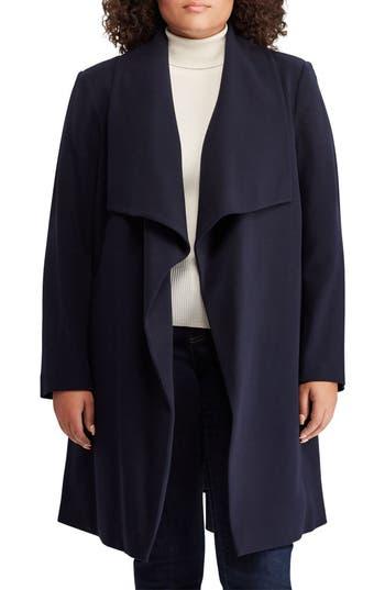 Plus Size Lauren Ralph Lauren Wrap Coat, Blue