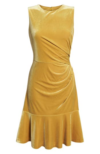 Eliza J Draped Velvet Sheath Dress, Yellow