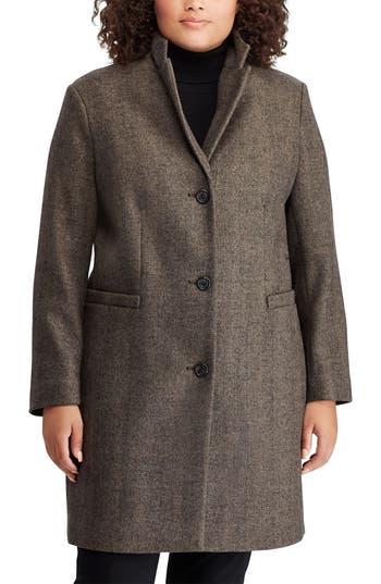 Plus Size Lauren Ralph Lauren Herringbone Wool Blend Reefer Coat, Black