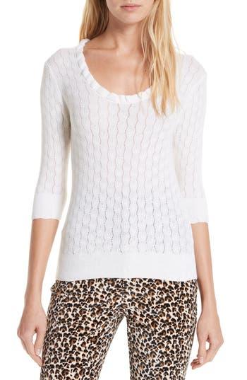 Rebecca Taylor Ruffle Neck Merino Wool Sweater, Ivory