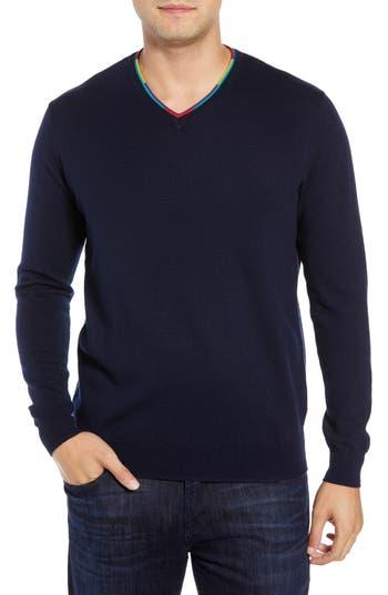 Bugatchi V-Neck Merino Wool Sweater, Blue