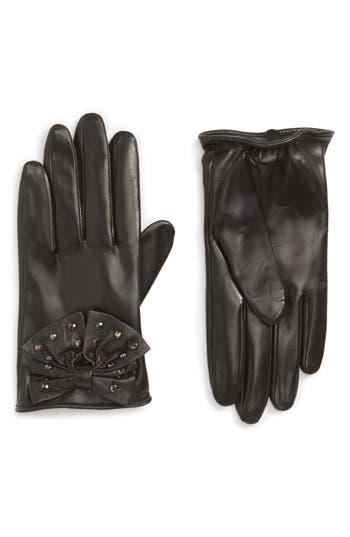 Nordstrom Bow Short Leather Gloves, Black