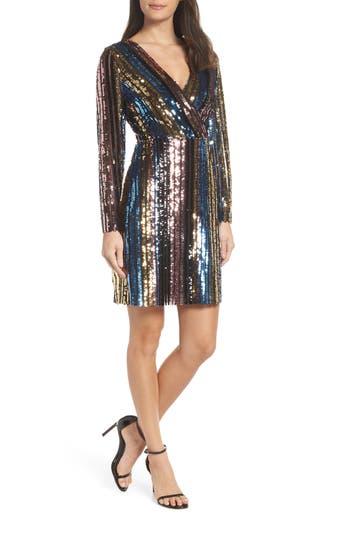 Sam Edelman Rainbow Metallic Faux Wrap Dress, Black