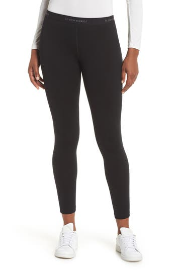 Icebreaker Oasis Slim Merino Wool Jersey Base Layer Leggings, Black