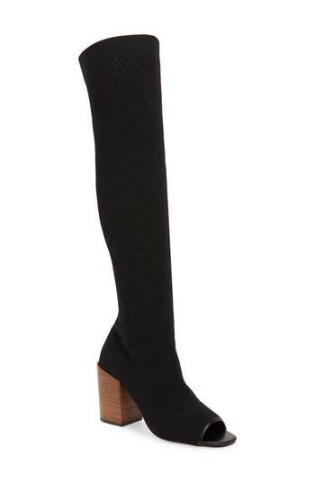 Kelsi Dagger Brooklyn Mabel Over The Knee Peep Toe Boot, Black