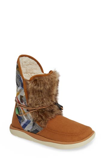 Sanuk Tripper Flurry Faux Fur Boot, Brown