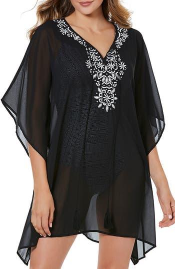 Miraclesuit Castaway Embellished Caftan, Black