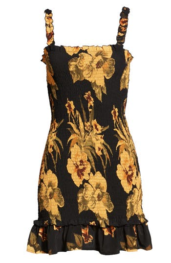 Del Mar Smocked Dress, Black