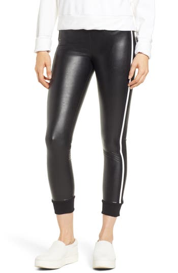 David Lerner Keily Cuffed Faux Leather Leggings, Black