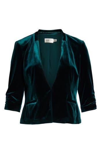 Vintage Coats & Jackets | Retro Coats and Jackets Womens Eliza J Velvet Blazer Size Small - Green $118.00 AT vintagedancer.com