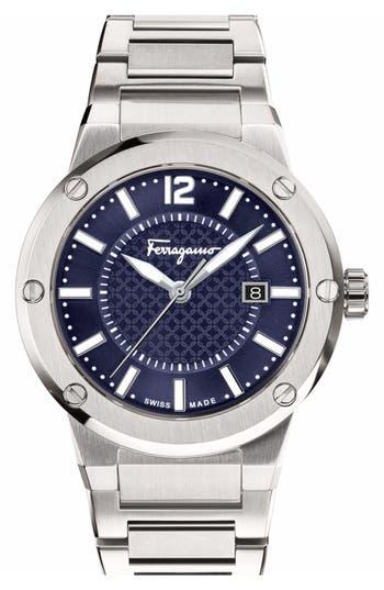 SALVATORE FERRAGAMO Mens F-80 Stainless Steel Bracelet Watch in Silver/ Blue