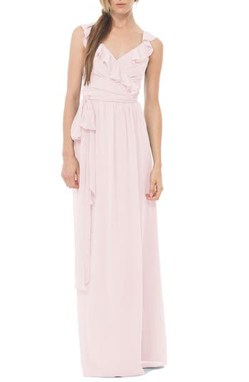 Women's Ceremony By Joanna August 'Lacey' Ruffle Wrap Chiffon Gown, Size XX-Large - Pink